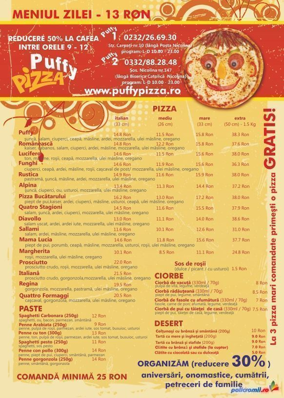 flyer A5 color puffy pizza